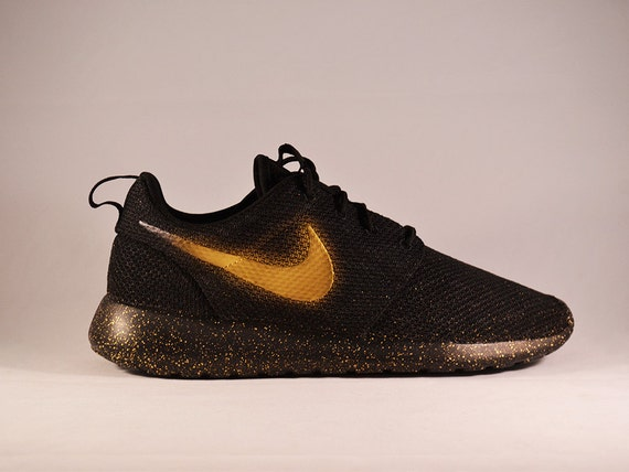 Nike Roshe Custom Painted Gold Swoosh Splatter by ...