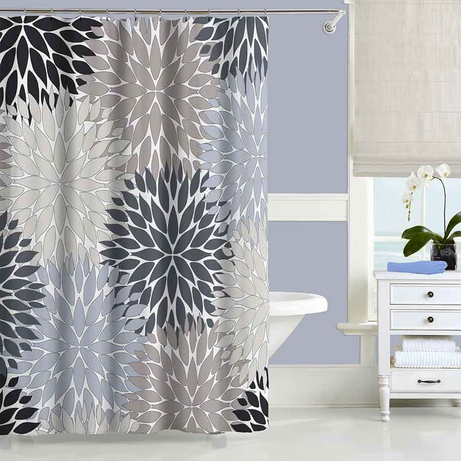 Gray Shower Curtain Black Blue Beige Shower Curtain Modern