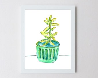 Succulent Plant Watercolor Illustration Print