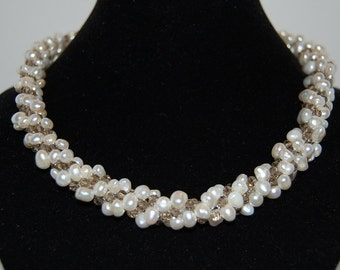 Chunky Pearl Crochet Necklace, Fresh Water Pearl, Crystal Beads, 18 inches long, Bridal Pearl Necklace ,Vintage Style In White,Classic ,Gift
