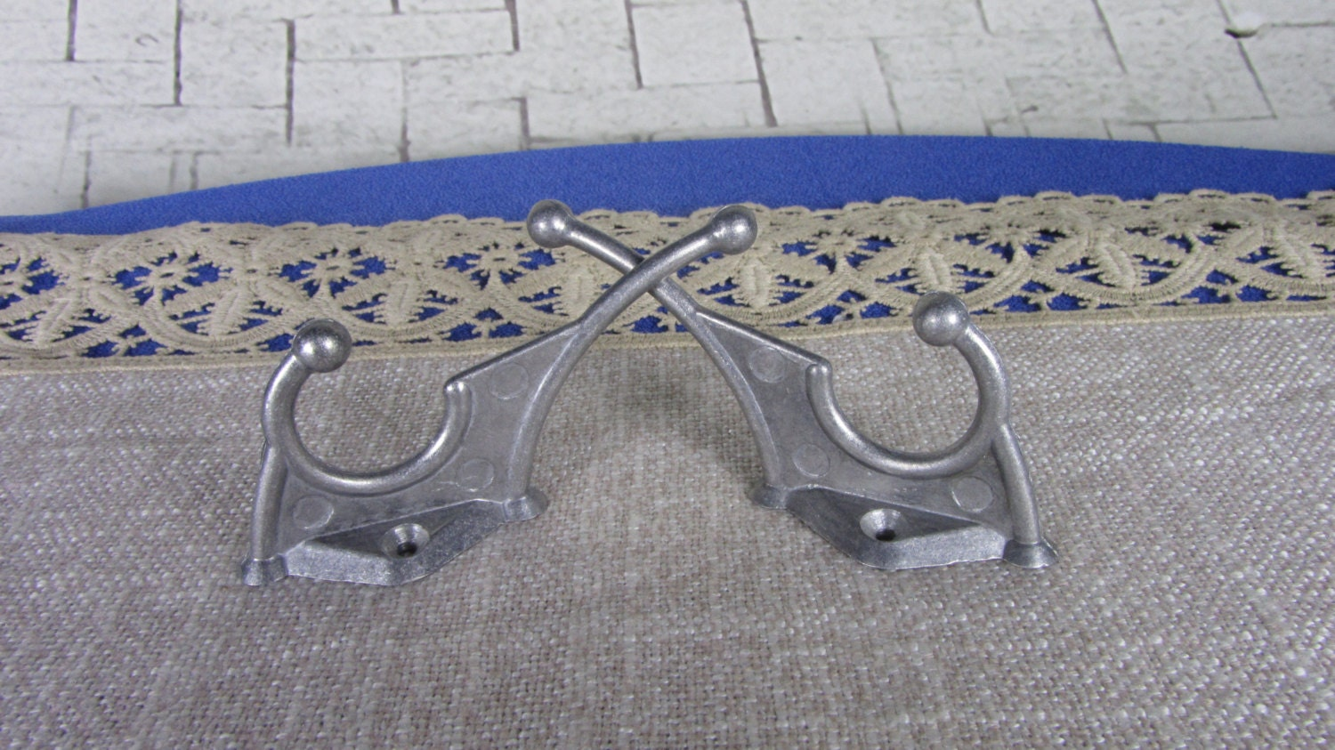 2 Small Wall Rack Hooks USSR 1970s, Soviet Vintage Aluminium Clothes Hook, Cloth