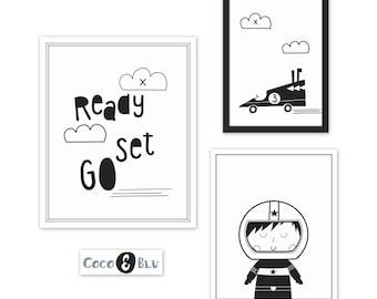 Little racer-Race car set-Race car nursery-Car theme nursery-Monochrome nursery-Black and white nursery art-Boys room decor