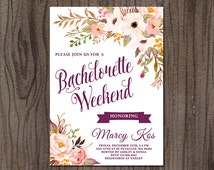 Bachelorette Weekend Invitation, Bachelorette Party Invitation, Floral Bridal Shower Invitation, Hens Party Invitation