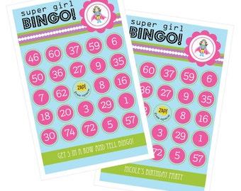 Birthday Bingo for Kids Birthday Party Ideas - Kids Birthday Party Games - Superhero Girl Birthday Game CardsSet of 16 (3021SHG)