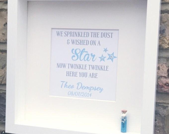 Personalised Star dust quote |Framed Print | Glitter mini bottle 3D | Box Frame | Great gift for newborns | Custom Print.