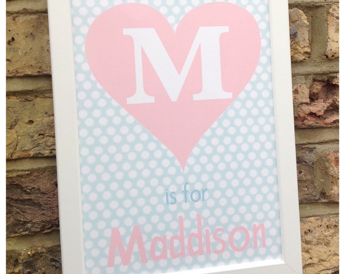 Personalised heart print, A4. Available in any colour. Great for kids, polka dot,