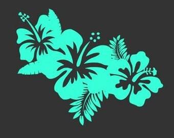 Tropical flower decal, flower decal, tropical decal, beach decal, summer decal, car decal, summer flowers