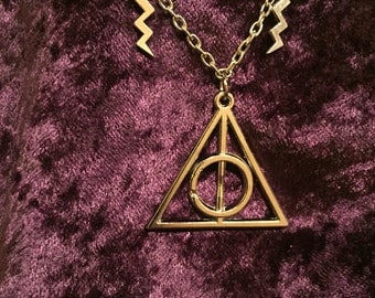 Harry Potter Deathly Hallows Necklace wih Lightening Bolts