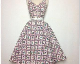 ROCKABILLY 50s Sundress 1950's dress Tea Party Garden Halter dress Medium Full circle skirt