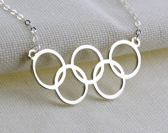 Silver Olympic Rings Necklace,Olympiad Symbol Pendant,Olympic Games Logo ,2016 Rio Olympics 5 Rings ,Sport Necklace, Five Ring Necklace N151