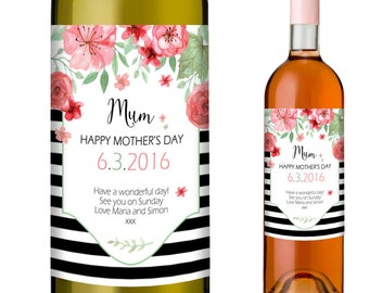 Mothers Day Gift Idea - Personalised Wine Label Which Can Be Personalised with the Date and a Short Message of up to 60 Characters