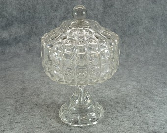 """Vintage Compote Clear Glass With Lid 7"""" Wide Amazing"""