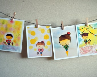Hi, there !  A set of 4 postcards