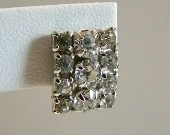 Vintage Square Clear Rhinestones Screw Back Earrings