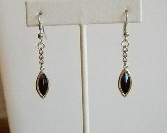 Silver Tone Black Crystal Look Dangle Chain Pierced Earrings