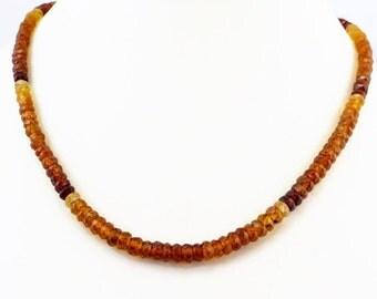Genuine Natural Hessonite Garnet ( Gomed ) Rondelle Hand Faceted Necklace.