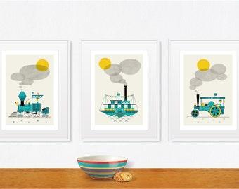 Boy Nursery Steamachines Baby Boy Nursery Poster Locomotive Steam Roller Steamer Nursery art, Size A2 or 16x20