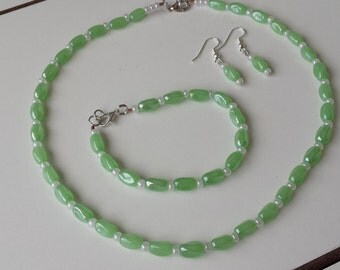 Lime green and white bead necklace, earrings and bracelet set