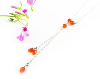 Silver Y Necklace, Delicate Minimal, Gemstone Lariat Necklace, Carnelian Gemstone Necklace, Dainty Lariat Necklace, Gift for her Minimalist