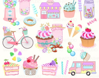 "Bakery clipart: ""SWEETS CLIPART"" with cupcake clipart, candy jars, cake, candy clipart, bycicle, candy truck, 22 images, 300 dpi. PNG files"