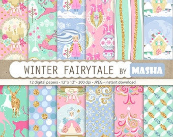 """Christmas digital papers: """"WINTER FAIRYTALE"""" with Christmas pattern, winter pattern, reindeer pattern, 12 images, 300 dpi. JPG files"""