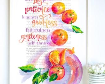 Fruit of the Spirit, Bible Verse, Watercolor