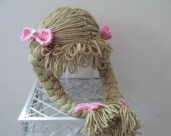 Crocheted Inspired Cabbage Patch Wig/Hat. Photo Prop. Costume. All Sizes Available.