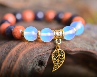 Moon stone bracelet, sun stone bracelet, leaf bracelet, gemstone bracelet, stone bracelet, beaded bracelet, gold bracelet, energy bracelet