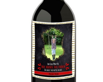 Christmas Wine Labels / Personalized Wine Labels / Holiday Wine Labels / Custom Photo Wine Label / Teacher Christmas Gift