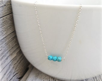 Turquoise Necklace, Silver Turquoise, Simple Turquoise Necklace, Handmade, Dainty, Everyday