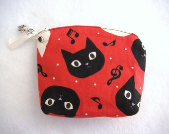 Cat Change Purse Cat Coin Purse Black Cat 4.7 x 3.5 in Zipper Coin Purse Cats Heads gift for cat lover  Cotton fabrics made in France