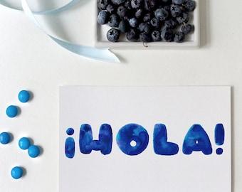hola greeting card | spanish | hello | tarjeta de hola | card just to say hi in spanish
