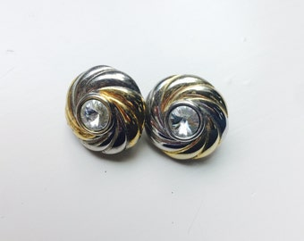 Vintage Two-tone Clip Earring