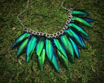 Jewel Beetle Wing Bib Necklace