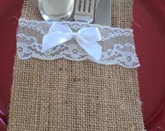 Burlap Cutlery Holder Wedding/Parties