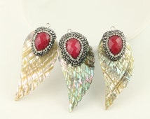 5Pcs Rainbow Abalone Shell Pendant, With Crystal and Red Gemstone Paved Wings shape Seashell Druzy Pendant