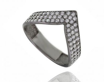 Chevron v band ring, in 3 colours, with zircons, 925 sterling silver