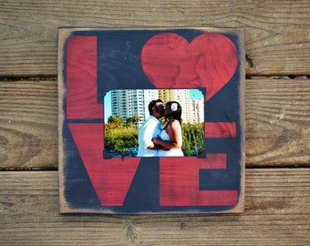 LOVE PICTURE FRAME distressed painted wooden wall decor shabby chic rustic farmhouse style