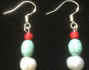 Sterling Silver, Turquoise, Fresh Water Pearls and Dyed Coral Drop Earrings