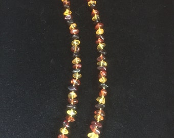 Polished Multi Colour, Cognac, Cherry and Lemon Baltic Amber Beaded Necklace
