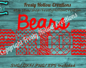 Bears Pride cutting file SVG, dxf, eps, png, scal instant download PERSONAL USE!
