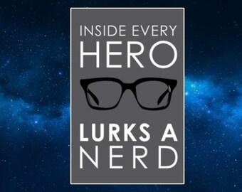 Inside Every Geek Lurks A Superhero Fridge Magnet. Geek / Nerd Gift Idea