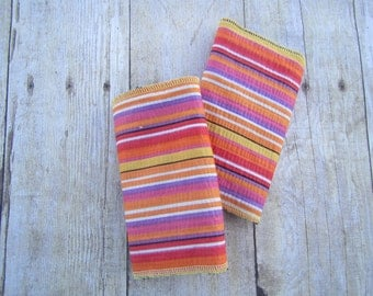 Pink/Orange Stripe Drool Pads for baby carrier (including Ergo, Tula, Lillebaby and more)