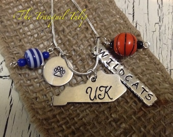 UK Wildcats Basketball Necklace - University of Kentucky Big Blue  Nation - Hand Stamped Metal Jewelry