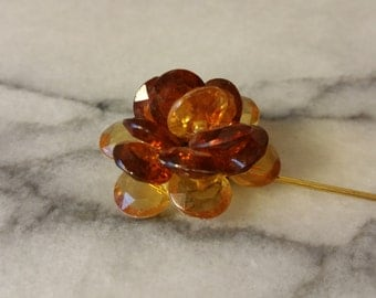 Vintage Gold with Amber and Yellow Acrylic Beads Flower Stick Pin