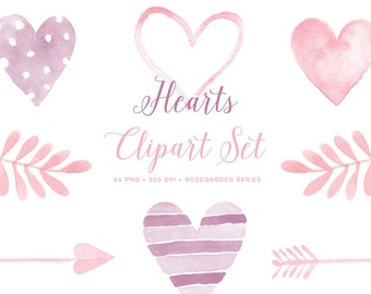 Valentine clipart love watercolor hearts images. Graphics for cards, invitations, scrapbooking, printable. Watercolour clip art pink.