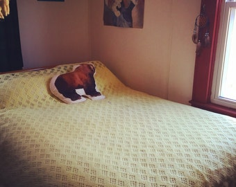 Vintage Soft Yellow Cut-out Blanket