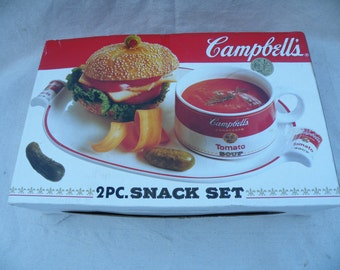 Vintage Campbells Soup Campbells 2 Piece Snack Set Campbells Soup Campbell Soup Company Collector Bowl and Plate