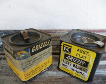 Vintage Metal Tins Old Square Cans Flip Top Grizzly Metal Tin