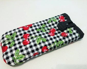 Quilted Cherry Pattern Sunglass or Eyeglass Case